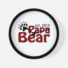 Papa Bear Claw Est 2012 Wall Clock