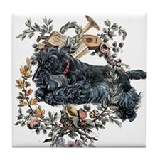 Scottish Terrier Wreath Tile Coaster