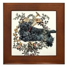 Scottish Terrier Wreath Framed Tile