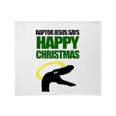 Raptor Jesus says Happy Chris Throw Blanket