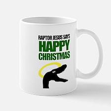 Raptor Jesus says Happy Chris Mug