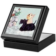 Scotties and Wren Winter Keepsake Box