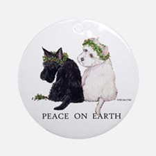Scottish Terrier Westie Xmas Ornament (Round)