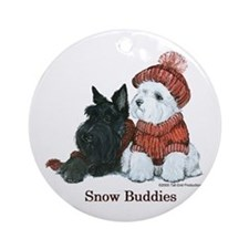 Scottish Terrier & Westie Sno Ornament (Round)