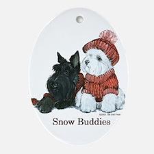 Scottish Terrier & Westie Sno Ornament (Oval)