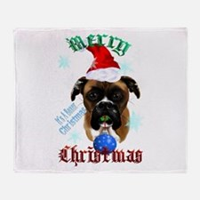 Wonderful-Christmas Boxer Dog Throw Blanket