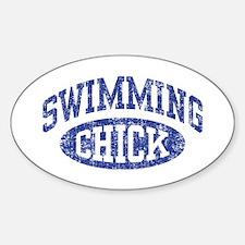 Swimming Chick Sticker (Oval)
