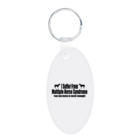 Multiple Horse Syndrome Aluminum Oval Keychain