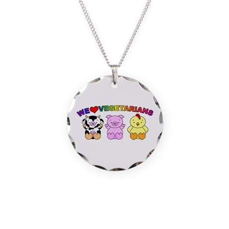We Love Vegetarians Necklace Circle Charm