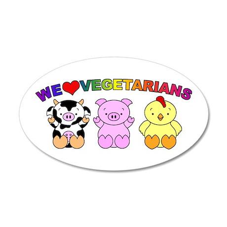We Love Vegetarians 38.5 x 24.5 Oval Wall Peel