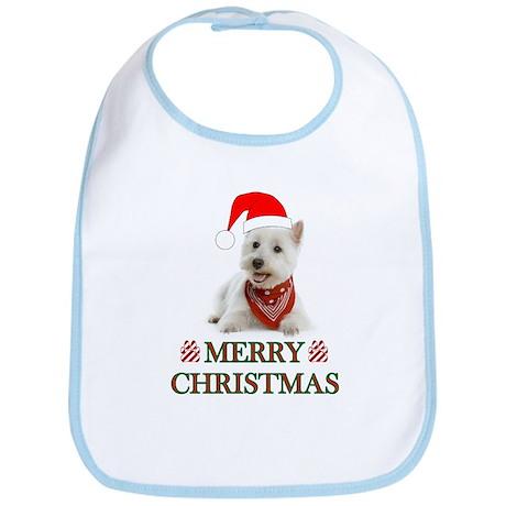 Westie Christmas W/Candy Cane Bib