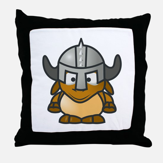Cartoon Gnu Knight Throw Pillow