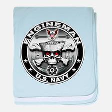 USN Engineman Skull EN baby blanket