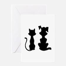 Cat & dog Greeting Card