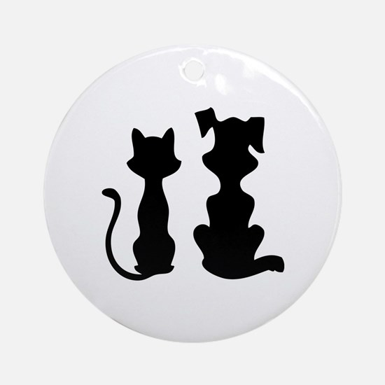 Cat & dog Ornament (Round)