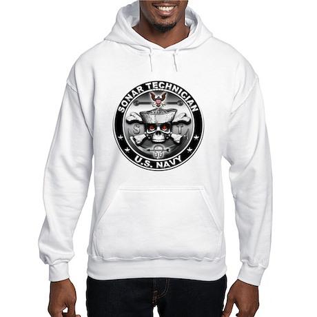 USN Sonar Technician Skull ST Hooded Sweatshirt