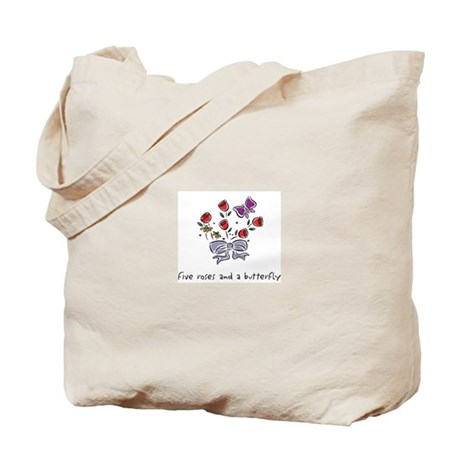 Five Roses and a Butterfly Tote Bag