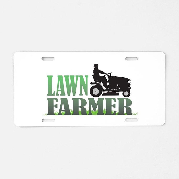 Lawn Farmer Aluminum License Plate