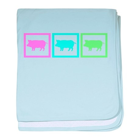 Pig Squares baby blanket