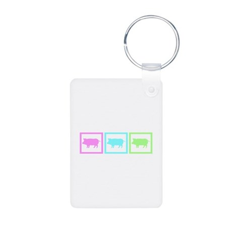 Pig Squares Aluminum Photo Keychain