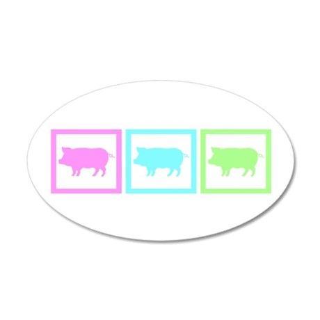 Pig Squares 38.5 x 24.5 Oval Wall Peel
