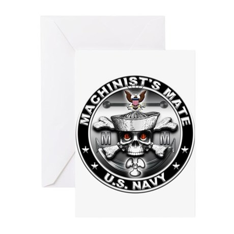 USN Machinists Mate Skull MM Greeting Cards (Pk of