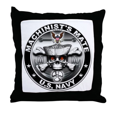 USN Machinists Mate Skull MM Throw Pillow