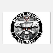 USN Navy Diver Skull ND Postcards (Package of 8)