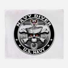 USN Navy Diver Skull ND Throw Blanket