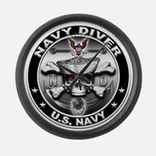 USN Navy Diver Skull ND Large Wall Clock
