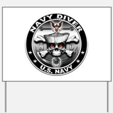 USN Navy Diver Skull ND Yard Sign