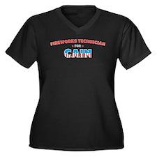 Fireworks technician for Cain Women's Plus Size V-