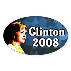 Clinton 2008 Oval Bumper Decal