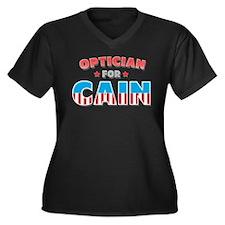 Optician for Cain Women's Plus Size V-Neck Dark T-