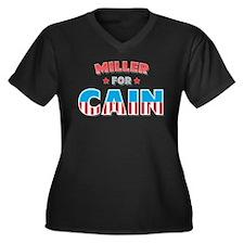 Miller for Cain Women's Plus Size V-Neck Dark T-Sh