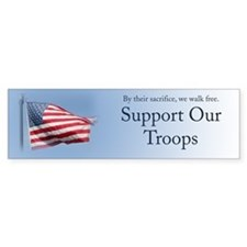 Fly the Flag for Our Troops Bumper Car Sticker