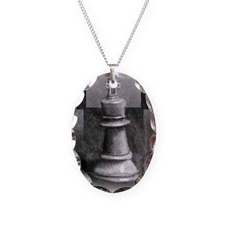 Chess King Necklace Oval Charm