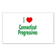 I Love CT Progressives Rectangle Decal