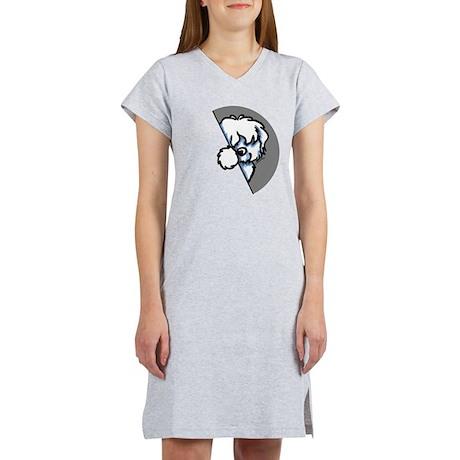 Peeking Coton de Tulear Women's Nightshirt