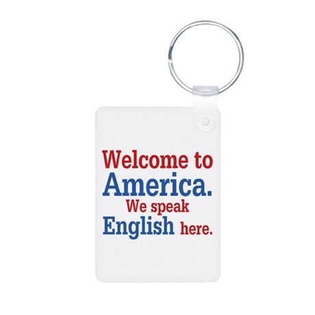 Speak English Aluminum Photo Keychain