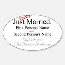 Finally Married Oval Decal