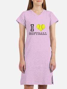 I Heart (Love) Softball Women's Nightshirt