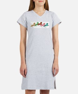 many leaping horses Women's Pink Nightshirt