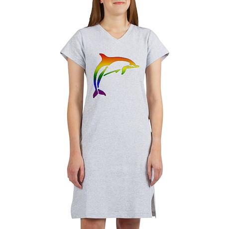 Rainbow Dolphin Women's Nightshirt