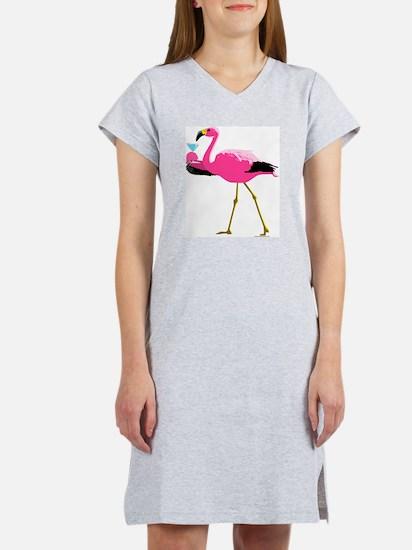 Pink Flamingo Drinking Martin Women's Nightshirt