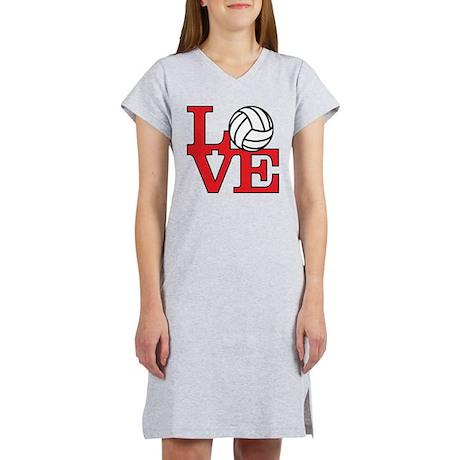 Volleyball Love - Red Women's Nightshirt