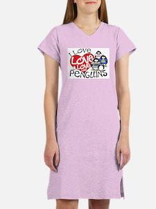 I Love Love More Penguins Women's Pink Nightshirt