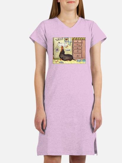 Weighty Weiner Dog Women's Pink Nightshirt