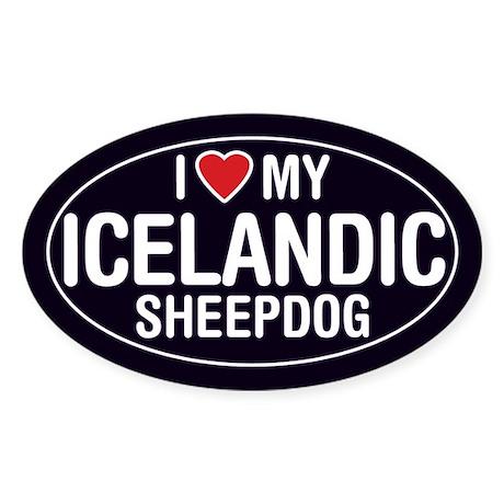 I Love My Icelandic Sheepdog Oval Sticker/Decal