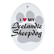 Love My Icelandic Sheepdog Ornament (Oval)